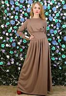 Женское бежевое платье макси, вечернее платье