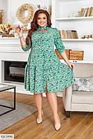 Легке літнє плаття вільного крою, з квітковим принтом спідниця в збірці р: 50-52, 54-56, 58-60, 62-64 арт. 1406