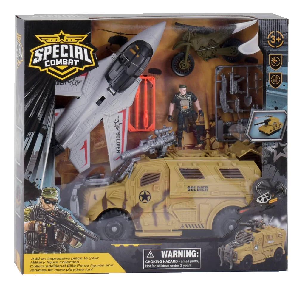 Набір військові машинки, винищувач, машина, мотоцикл, солдатів, аксесуари