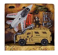 Набір військові машинки, винищувач, машина, мотоцикл, солдатів, аксесуари, фото 2