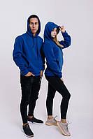 Худи унисекс WOW ФЛИС Baza Однотонная спортивная кофта с капюшоном хлопок (Размер S) Синий