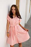 Летнее коттоновое платье с поясом и расклешенной юбкой 42-48 размер разные цвета