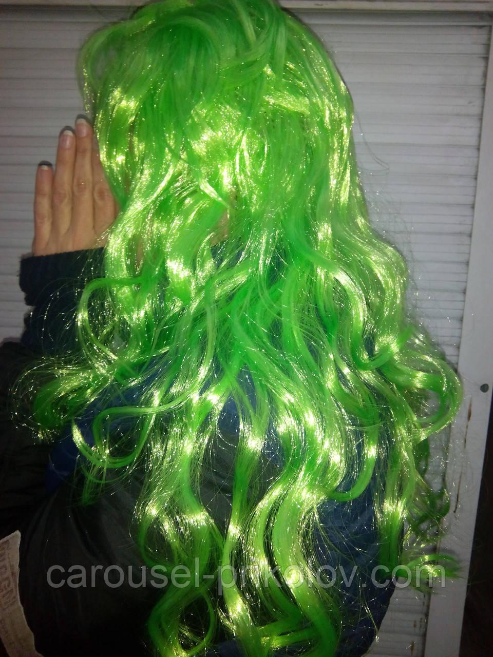 Парик карнавальный длинный зеленый