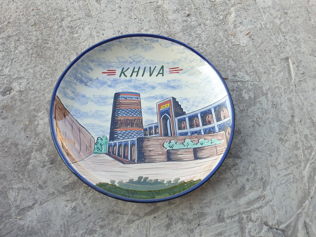 Ляган г. Хива, Риштанская красная глина, ручная работа, 32см.