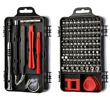 Набір інструментів 110 в 1 для ремонту електроніки, чорний