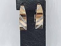 Золотые серьги с алмазной гранью. Артикул 210250_А, фото 1