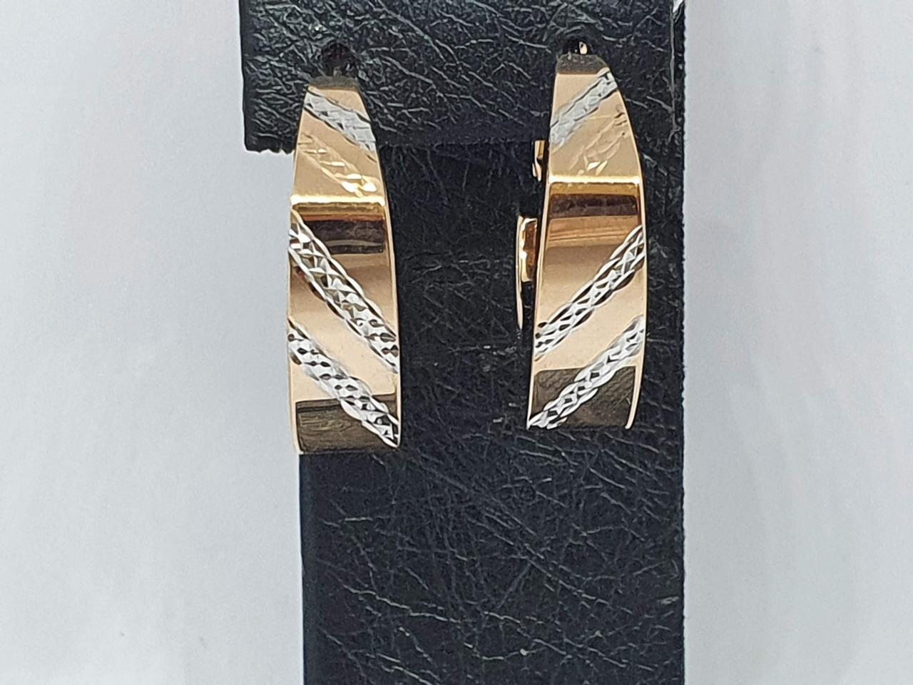 Золотые серьги с алмазной гранью. Артикул 210250_А