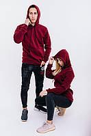 Худи унисекс WOW ФЛИС Baza Однотонная спортивная кофта с капюшоном хлопок (Размер S) Бордовый