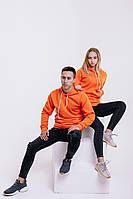 Худи унисекс WOW ФЛИС Baza Однотонная спортивная кофта с капюшоном хлопок (Размер S) Оранжевый