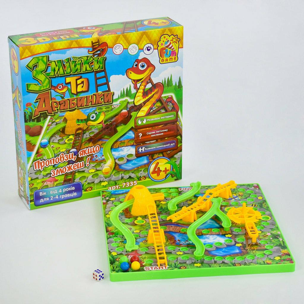 Настольная игра Змійки та драбинки 7335 Fun Game Змейка и лестницы