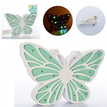 Нічник дерев'яний Метелик зелений MD 2223