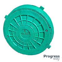 Люк с замком полимерный зеленый размер 590мм х 690 мм Мпласт максимальный вес 1,5 тонн