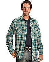 Рубашка Wrangler Men's Blue And Gray Plaid Flannel Shirt Grey