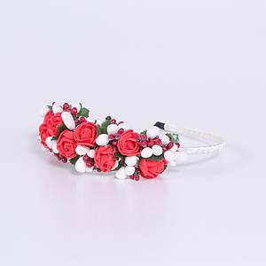 Український обруч-половинка для волосся Moderika Червоні Троянди