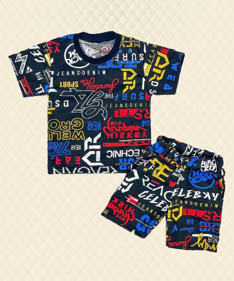 Комплект для мальчика черный в надписях футболка + шорты кулир
