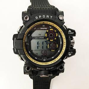 Годинник наручний, електронний, з підсвічуванням. Колір: жовта рамка