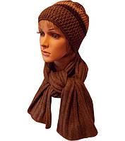 Вязаная женская зимняя шапка в стиле ручной работы,  и шарф.