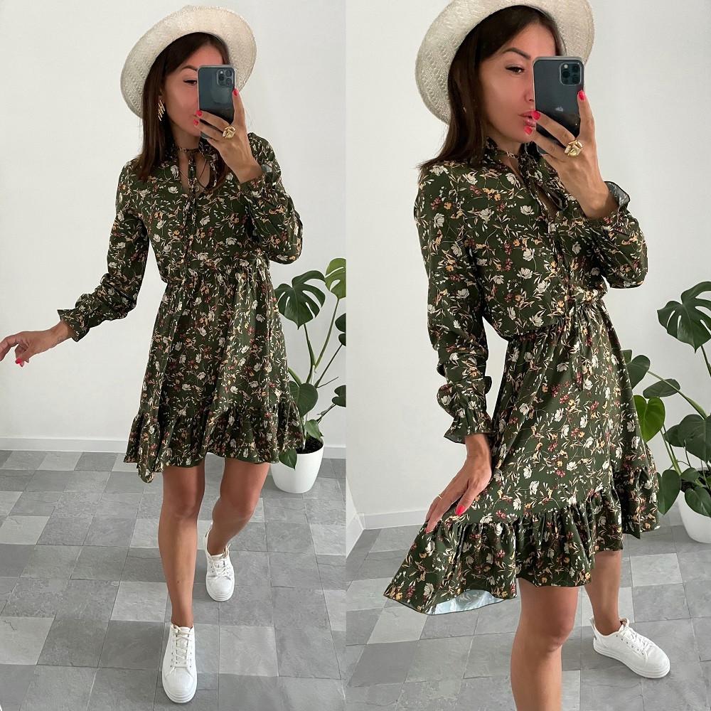 Приталенное женское платье с цветочным принтом