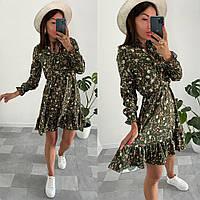 Приталенное женское платье с цветочным принтом, фото 1