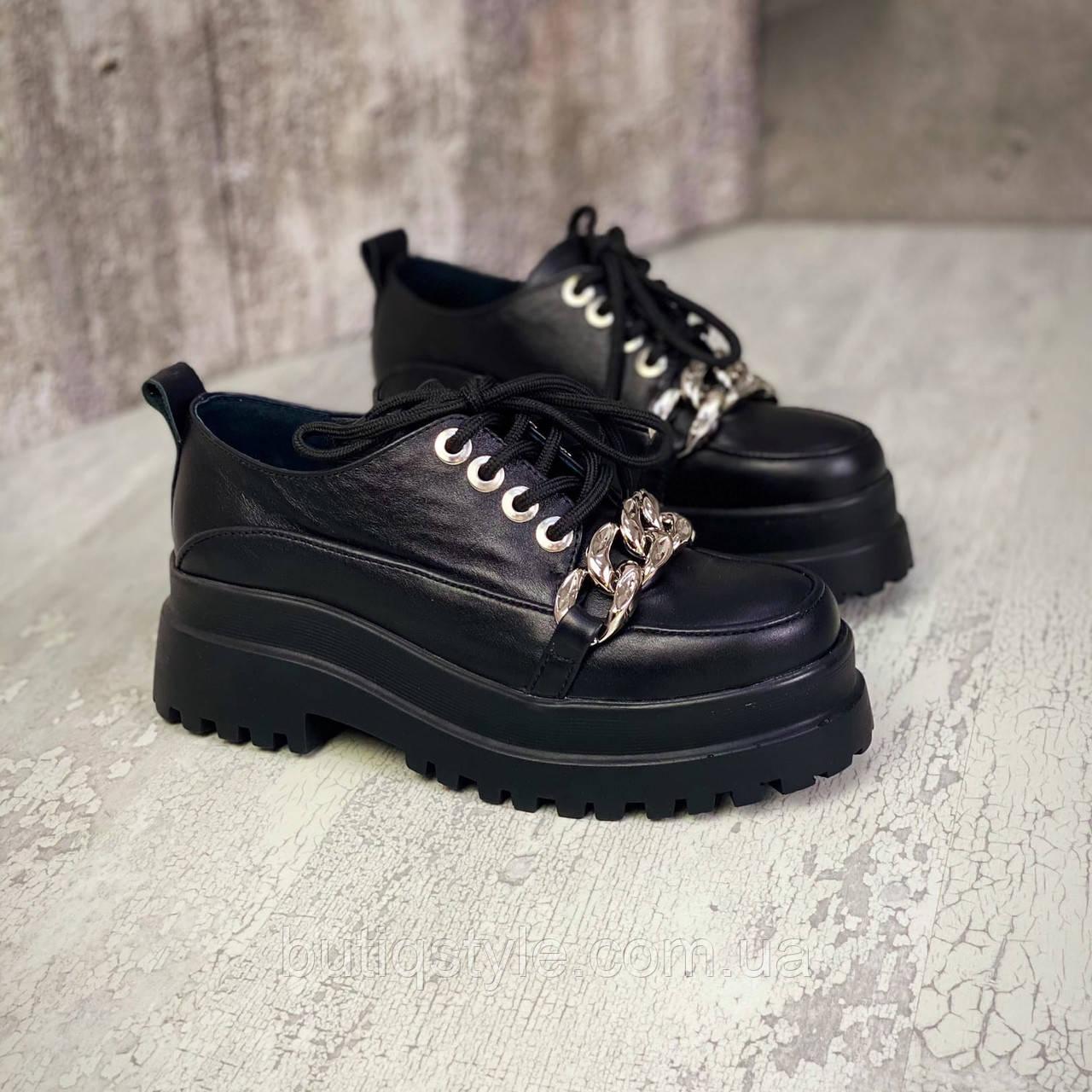 Жіночі чорні туфлі натуральна шкіра з ланцюгом