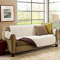 Cтеганое покрывало на диван двустороннее Бело-Коричневое 173x165 см накидка для дивана   покривало (NS)