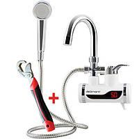 Проточный водонагреватель с душем кран электрический нагреватель бойлер Делимано 3000 Вт Delimano белый