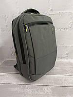 Міський стильний сірий рюкзак Wenhao 1097 з USB зарядкою для телефону та відділення під ноутбук, фото 6