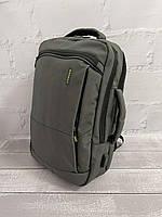 Міський стильний сірий рюкзак Wenhao 1097 з USB зарядкою для телефону та відділення під ноутбук, фото 3
