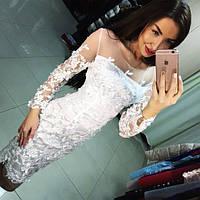 Женское шикарное белое платье с гипюром и сеткой