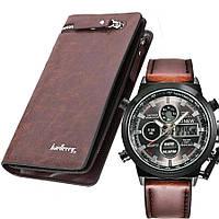 Шкіряне чоловіче портмоне + Подарунок Чоловічі годинники AMST / Baellerry Italia (19,5 х 10 х 3 см)