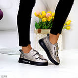 Кросівки - кеди жіночі нікель/ бронза на липучці натуральна шкіра весна/ осінь, фото 6
