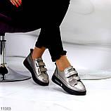 Кросівки - кеди жіночі нікель/ бронза на липучці натуральна шкіра весна/ осінь, фото 7
