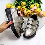 Кросівки - кеди жіночі нікель/ бронза на липучці натуральна шкіра весна/ осінь, фото 9