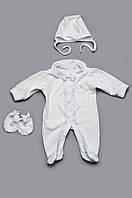 Роскошный набор (человечек, шапочка, нецарапки) на выписку для мальчика. Белый