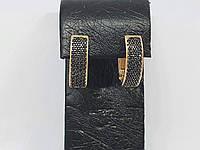 Золотые серьги с черными фианитами. Артикул 211802_Ч, фото 1