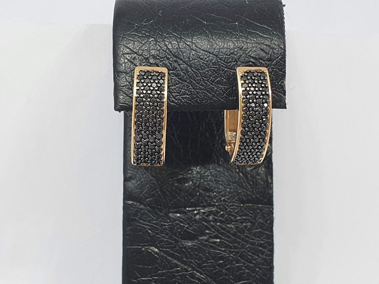 Золотые серьги с черными фианитами. Артикул 211802_Ч