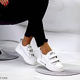 Кроссовки / кеды женские белые на липучках натуральная кожа, фото 4