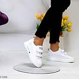 Кроссовки / кеды женские белые на липучках натуральная кожа, фото 5