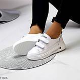 Кроссовки / кеды женские белые на липучках натуральная кожа, фото 6