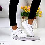 Кроссовки / кеды женские белые на липучках натуральная кожа, фото 7
