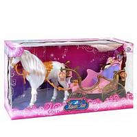 Карета для куклы с красивой белой лошадью. Лошадка ходит. Детский игровой набор для девочки.
