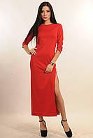 Длинное женское платье с разрезом в расцветках.