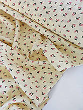 Муслин (хлопковая ткань) розочки на желтом
