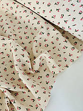 Муслин (хлопковая ткань) розочки на беже