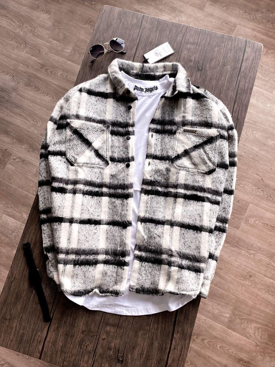 Мужская рубашка байковая (светлая) стильная молодежная sr67