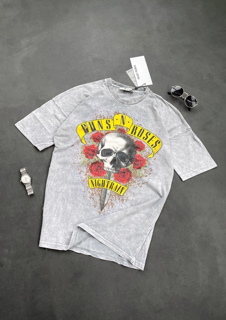 Мужская футболка guns`n`roses (серая) с изображением черепом крутая одежда sF241сер