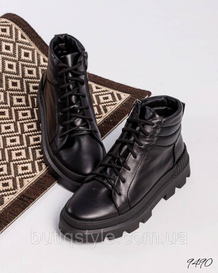 Жіночі чорні черевики натуральна шкіра Демі