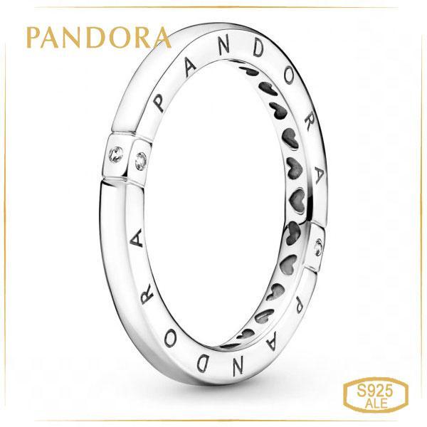 Пандора Кольцо Логомания с логотипом и сердцами (52) Pandora 199482C01