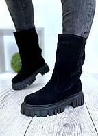 Жіночі замшеві чоботи чорні демисезон