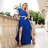 Нарядное платье женское длинное короткий рукав платье на выход розовое и синее размер батальный от 50 до 60, фото 6
